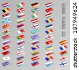 Collection of isometric European Flags icons - stock photo