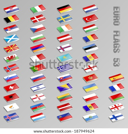 Collection of isometric European Flags icons - stock vector