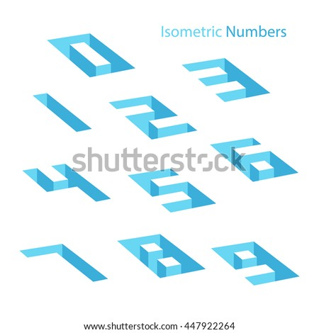 Collection of isometric numbers. Hole effect. Three-Dimensional elements. Vector illustration. - stock vector
