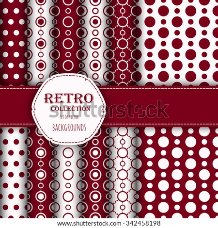 Collection of jumbo and small polka dots seamless patterns in red, and white. Vector art image illustration. Perfect for wallpapers, pattern fills, web backgrounds, birthday and wedding cards - stock vector