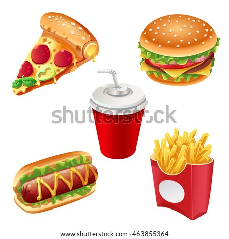 Collection of junk food, vector art isolated on white.