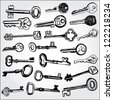 Collection of Keys Hand Drawn - stock vector