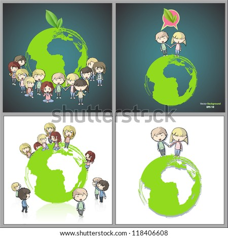 Collection of kids around the planet. Vector design.