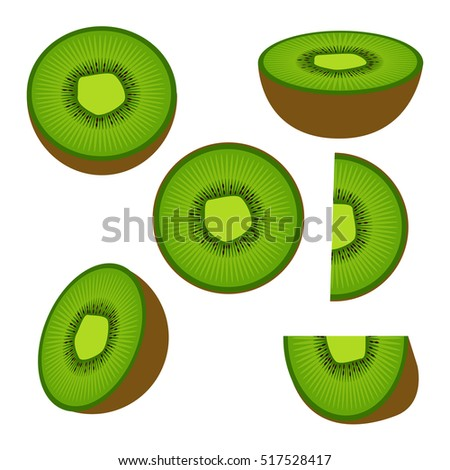 Collection of  kiwi fruit and his sliced segments isolated on white background.