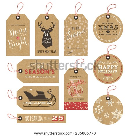 collection of 10 kraft paper christmas gift tags - stock vector