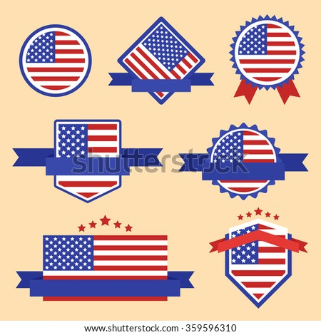 Collection of Label Flag of USA