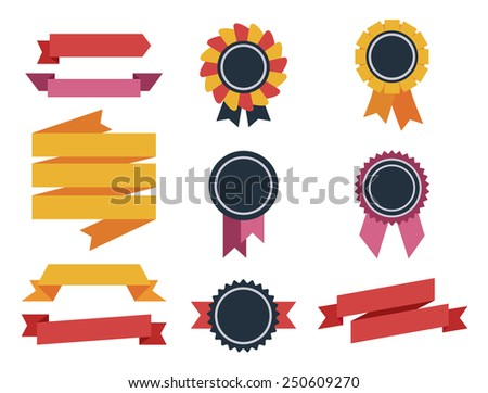 Collection of labels and ribbons in retro vintage style flat - stock vector