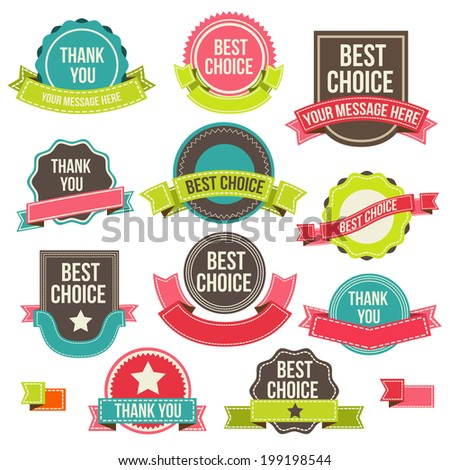Collection of labels and ribbons.Vector design elements - stock vector