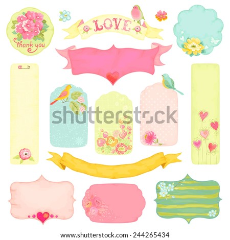 Collection of labels decorated with flowers, birds and hearts. - stock vector