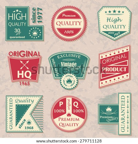 Collection of labels. Set of vector labels. Original Design. Grunge background           - stock vector