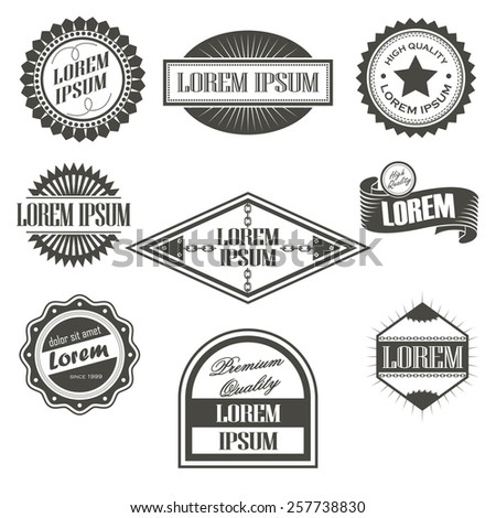 Collection of labels with retro vintage styled design - stock vector