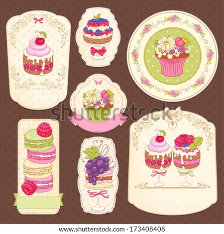 Collection of labels with sweets. - stock vector