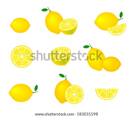 Collection of lemons, isolated on white background, vector illustration. - stock vector