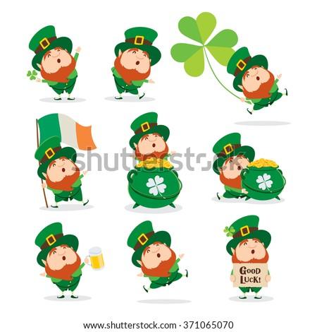Collection of Leprechaun for Saint Patricks design. - stock vector