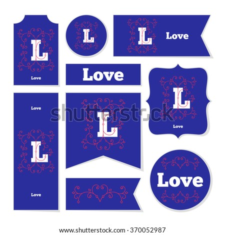 Collection of letter with ornament love for Valentine's Day cards
