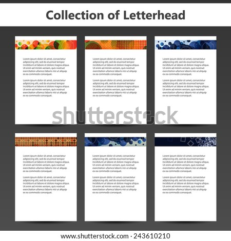 Collection of Letterheads for Your Business - Six Nice and Simple Design Template with Different Patterns - stock vector