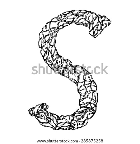collection of letters of herbs close-up isolated on white background. Letter S. Can be used as adult coloring book, coloring page. - stock vector