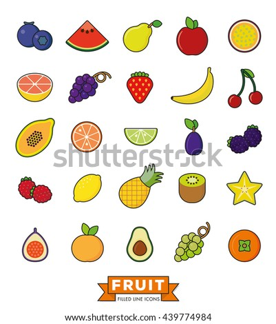 Collection of line fill fruit icons on white background - stock vector
