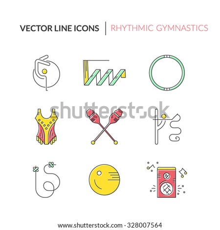 Collection of line modern vector symbols of rhythmic gymnastics, including ribbon, ball, clubs. Sport vector. Great set of line style symbols. 
