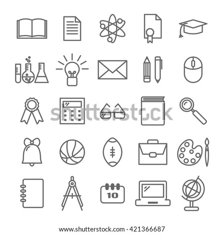 Collection of linear icons: school and education. Thin icons  for web, printing, mobile apps