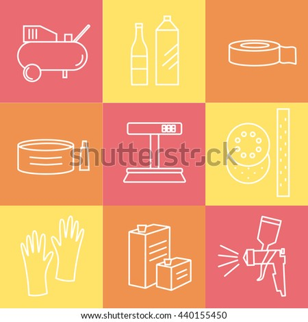 Collection of liner icons represent painter equipments: gun, hardener, lacquer, solvent, polish, scales, compressor, gloves, sandpaper, coating, scotch tape. Symbols isolated on colorful background - stock vector
