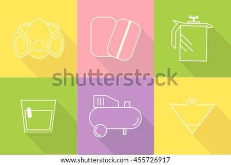 Collection of liner icons represent painter equipments. Symbols isolated on colorful background. Flat design vector