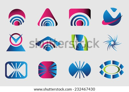 Collection of 12 logo design elements   - stock vector