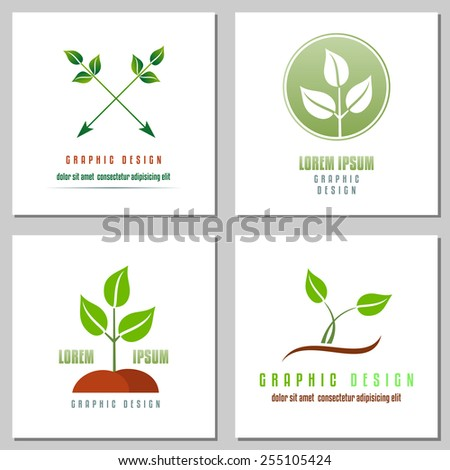 Collection of logos of green leaf, symbol of green world. Design elements for logo or corporate identity. Concept for environmental, gardening or ecological industry. Vector file is EPS8. - stock vector