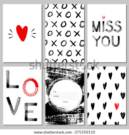 Collection of LOVE art cards. Hand drawn textures and hearts, set of Valentine's Day backgrounds. Love, Miss you, XOXO. Vector illustration. Ideal for cards, posters, invitations. Isolated. - stock vector