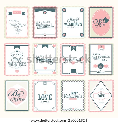 Collection of love postage stamps for Happy Valentines Day celebration. - stock vector