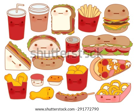 Collection of lovely baby food doodle icon , cute hamburger , adorable sandwich , sweet pizza , kawaii coffee , girly taco in childlike manga cartoon style - Vector file EPS10 - stock vector