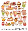 Collection of lovely baby sweet dessert doodle icon, cute ice cream, adorable waffle, sweet crepe, kawaii sundae, girly parfait in childlike manga cartoon style  isolated on white-Vector file EPS10 - stock vector