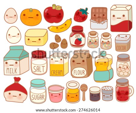 Collection of lovely cake ingredient icon , cute egg , adorable milk , sweet flour , kawaii strawberry, girly butter Isolated on white in childlike  manga cartoon style - Vector file EPS10 - stock vector