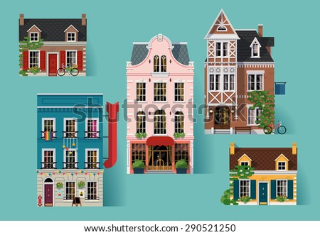 Collection of lovely detailed vector old small town retro victorian style building facades - stock vector