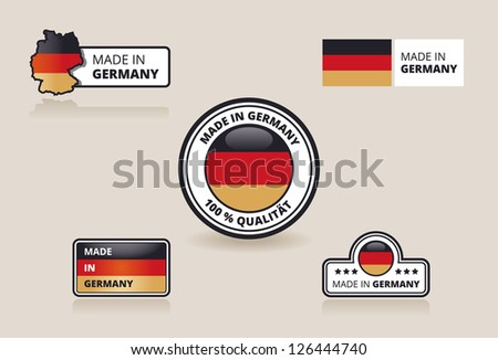 Collection of Made in Germany Labels, Badges and Stickers - stock vector