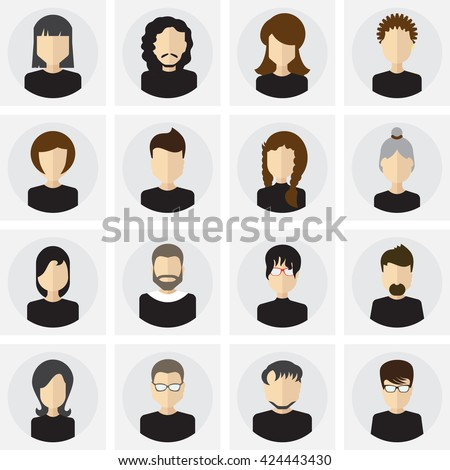 Collection of male and female faces avatars.  People icon flat style. People icon vector. People icon, logo, template, pictogram, button set. People icon collection. People icon trendy. People icons. - stock vector