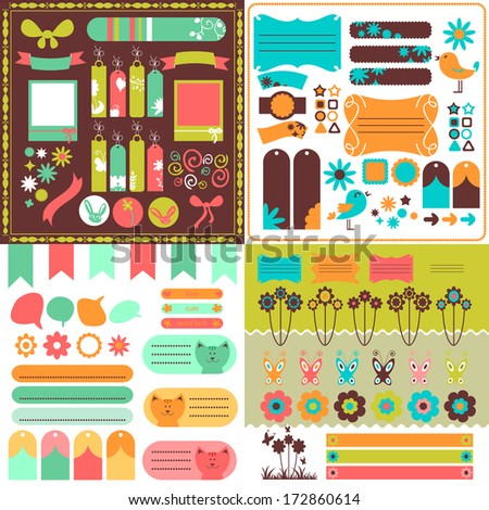 Collection of many cute scrapbook elements - stock vector