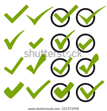 collection of many different green hooks vector - stock vector