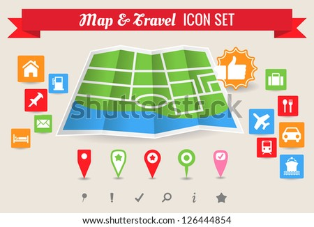 Collection of map and travel vector symbol and icons - stock vector