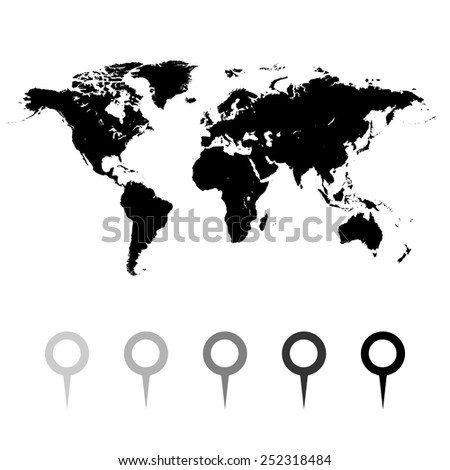 Collection of map pointers with world map - stock vector