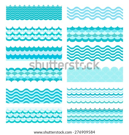Collection of marine waves. Sea wavy, ocean art water design. Vector illustration - stock vector