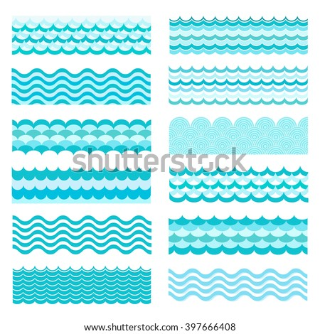 Collection of marine waves. Sea wavy, ocean art water design. Vector illustration. Sea wave pattern. - stock vector