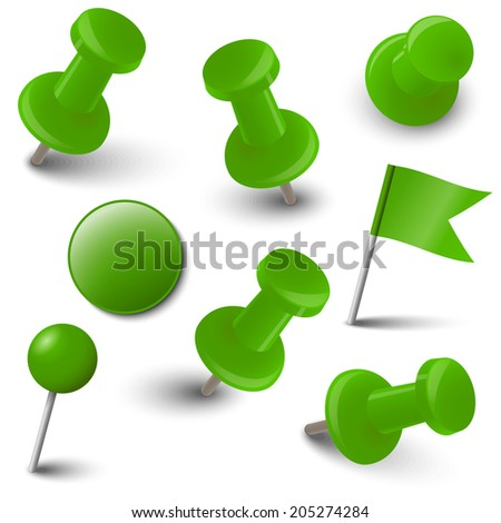 Collection of marking accessories - green - stock vector