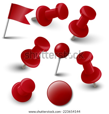 Collection of marking accessories - red - stock vector