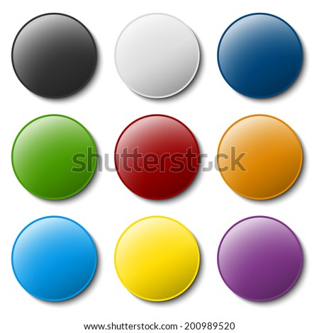 Collection of marking accessories - thumbtacks - stock vector