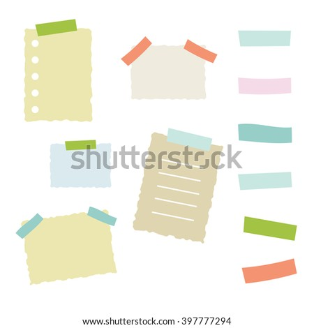 Collection of masking tape pieces and papers - stock vector