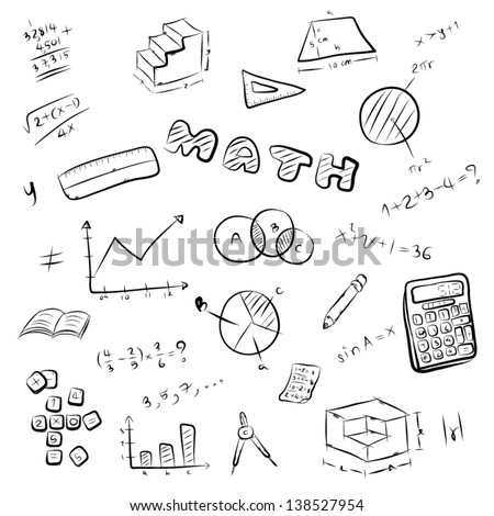 collection of mathematics symbol and equipment / hand drawing vector and illustration, black and white image / isolated on white background.