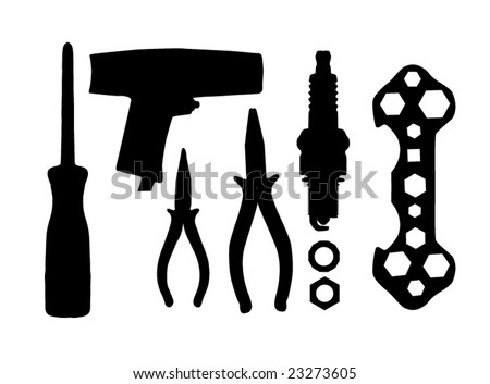 collection of mechanic tool vector - stock vector
