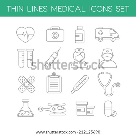 Collection of medical icons in modern thin line design style. - stock vector