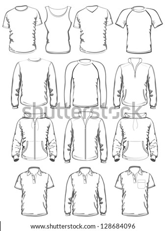 Collection Men Clothes Outline Templates Vector Stock Vector ...